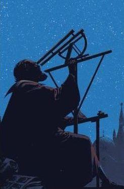 Galileo Galilei observando por primera vez el cielo con un telescopio