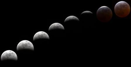 Sombra de la tierra sobre la luna en un eclipse de luna