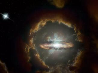 La impresión de un artista del Disco de Wolfe, una galaxia de disco masiva en el universo temprano.